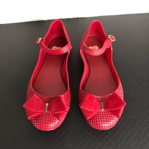 MELISSA MEI | RED JELLY BALLET FLATS W/ BOW | US7